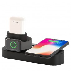 4 in 1 Qi Wireless Charging Station for Apple Watch, Airpods, iPhone/Android - Black