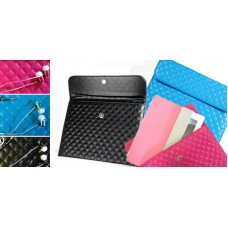 2 in 1 BUNDLE:  Envelope Tablet Pouch & Faux Crystal Earbuds - Assorted Colors: Black, Blue, or Pink